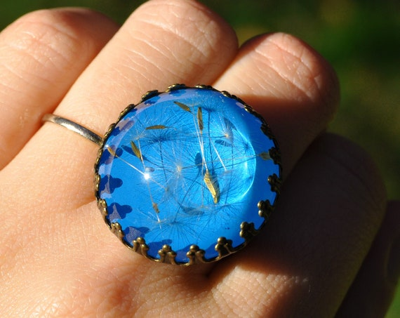 Dandelion Crown Ring - Sky Blue