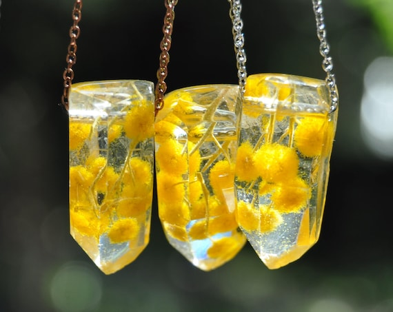 Australian Flower Resin Crystal Necklace - Mount Morgan Wattle