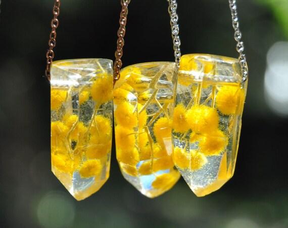 Australian Flower Resin Crystal Necklace - Mount Morgan Wattle