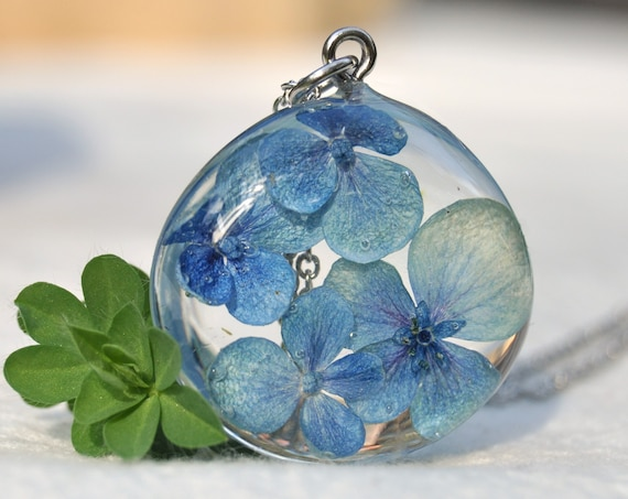 Blue Hydrangea Resin Pebble Necklace