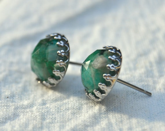 Rose Cut Amazonite and Resin Stud Earrings