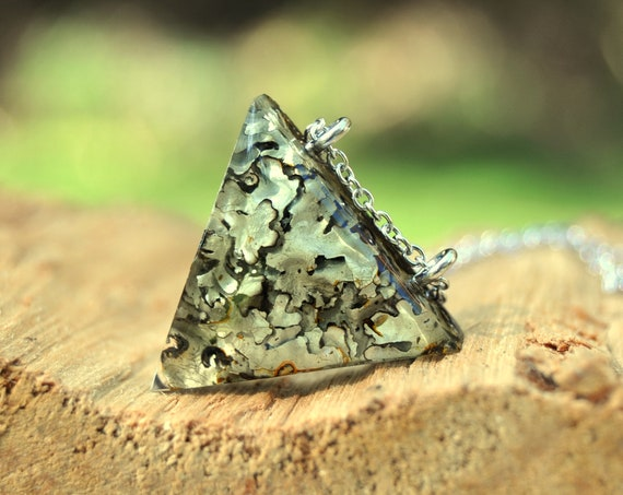 Rock Lichen Triangle Resin Necklace