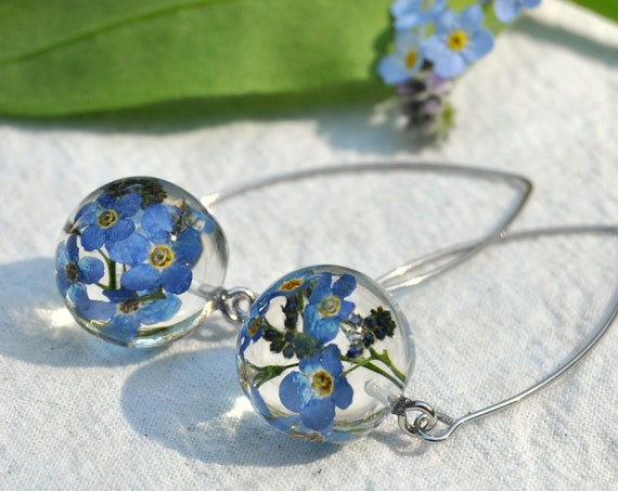 Dangle Orb Earrings - Forget Me Not & Resin