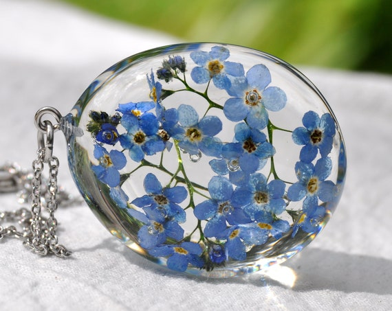 Forget Me Not Resin Pebble Necklace