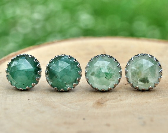 Rose Cut Green Aventurine and Resin Stud Earrings