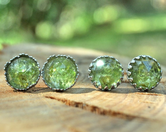 Rose Cut Peridot and Resin Stud Earrings