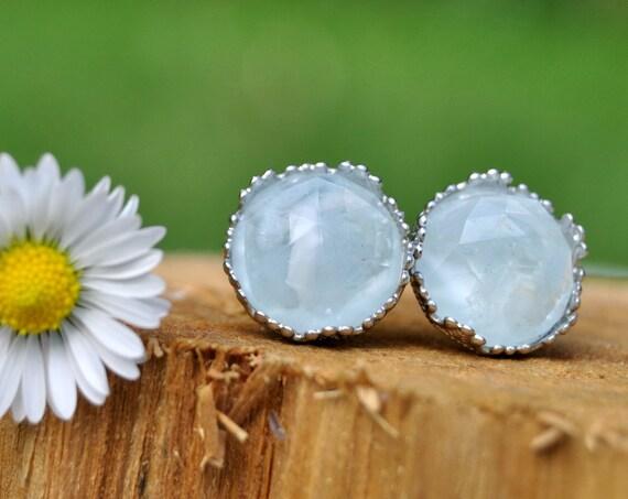 Rose Cut Aquamarine and Resin Stud Earrings