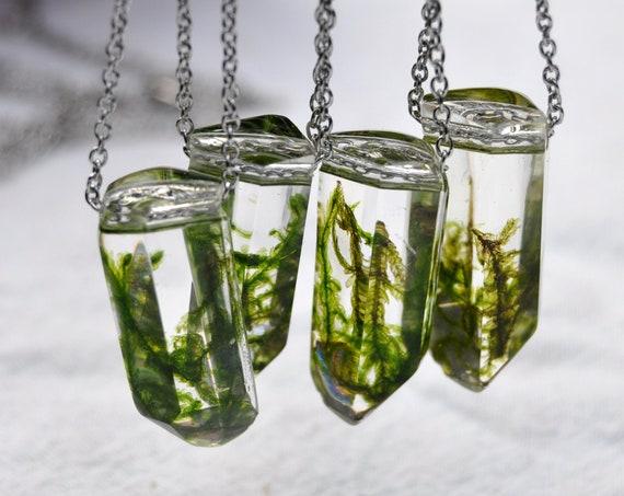 Moss Crystal Terrarium Necklace