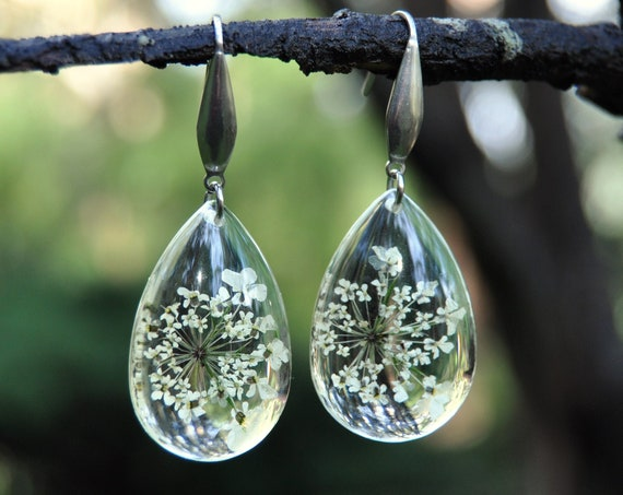 Dangle Teardrop Earrings - Queen Anne's Lace & Resin