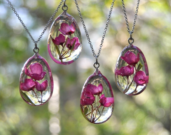 Pink Boronia Resin Pebble Necklace