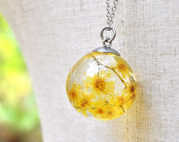 Australian Flower Resin Sphere Necklace - Silver Wattle - 25 mm