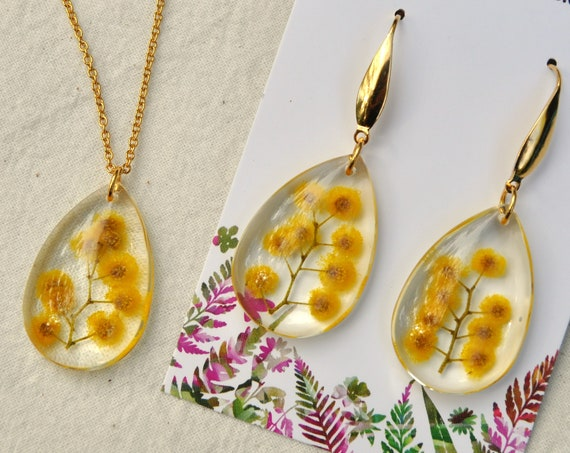 Silver Wattle in Resin Jewellery Set