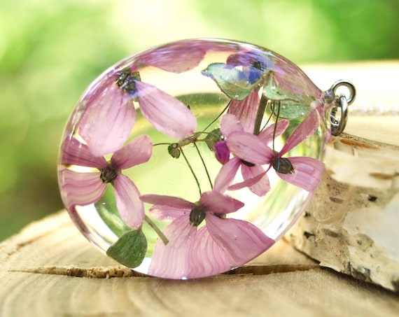Pink Bells Flower Resin Pebble Necklace