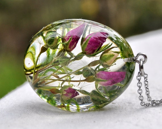 The Enchanted Garden Resin Pebble Necklace