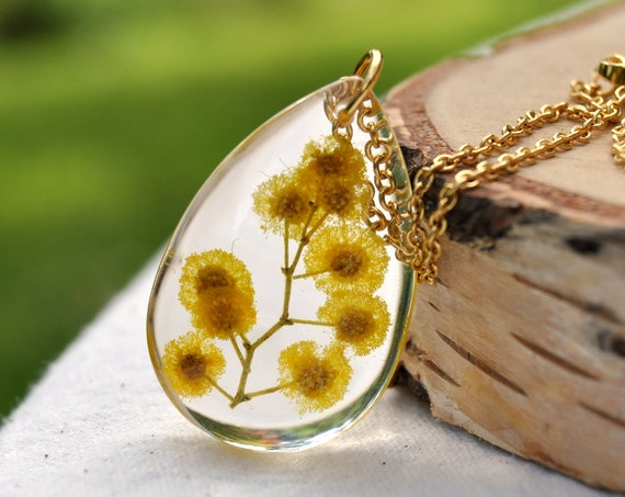Silver Wattle in Resin Drop Necklace