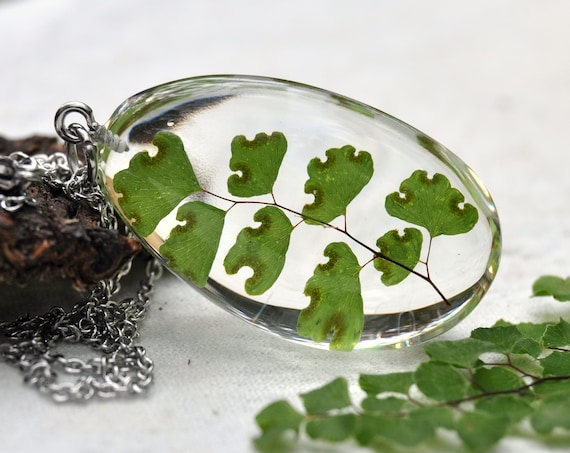 Maidenhair Fern Resin Pebble Necklace