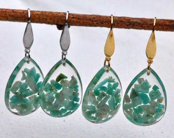 Dangle Teardrop Earrings - Amazonite Stones & Resin