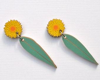 Sunflower & Leaf Earrings • Gift for Her • Christmas Gift Earrings •  Yellow Daisy Flower Stud Dangle Earrings • Australian Flower Jewellery