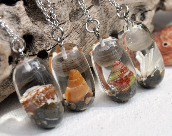 Nautical Resin Semi-Drop Necklace - Seashells & Seaweed