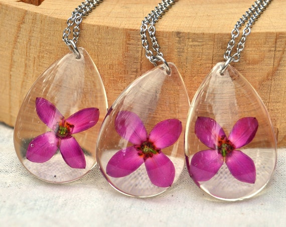 Red Boronia in Resin Drop Necklace