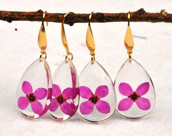Dangle Teardrop Earrings - Red Boronia Flowers & Resin