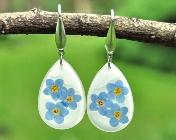 Dangle Teardrop Earrings - Forget Me Not & Resin
