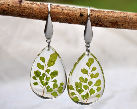 Dangle Teardrop Earrings - Maidenhair Fern & Resin