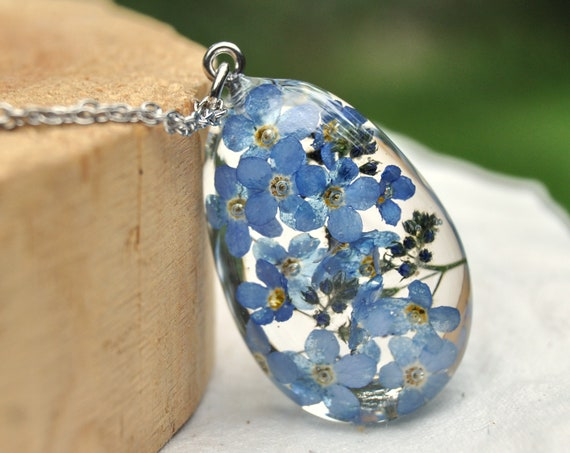 Forget Me Not Drop Resin Pebble Necklace