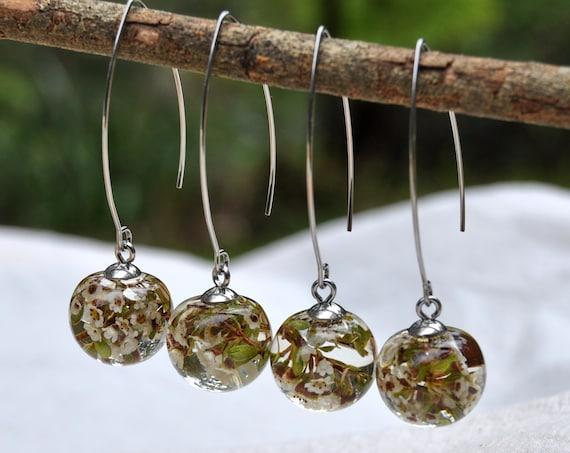 Mini Sphere Long Dangle Earrings - Thryptomene & Eco Resin