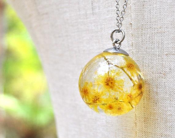 Australian Flower Resin Sphere Necklace - Silver Wattle - 25 mm