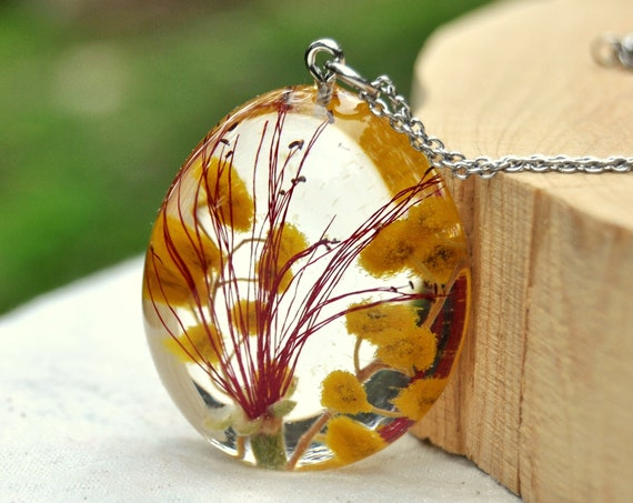 Golden Wattle & Red Callistemon Resin Pebble Necklace