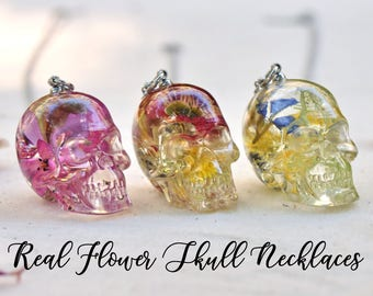 Real Flower Resin Skull Necklace - One of a Kind