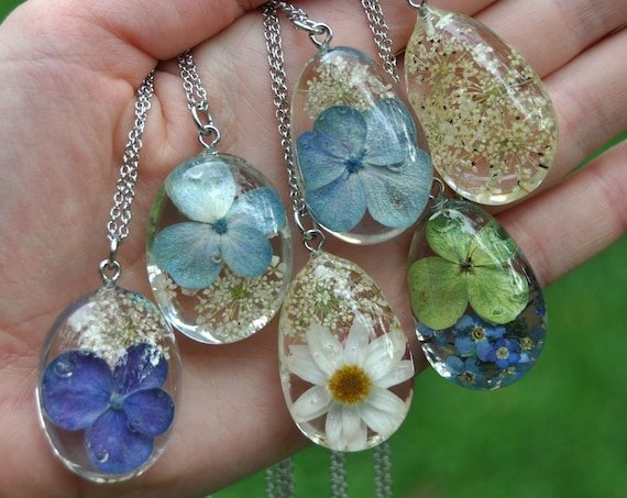 Blue & White Flowers Resin Pebble Necklace