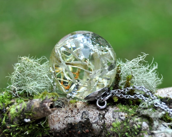 Botanical Resin Sphere Necklace - Lichen - 25 mm