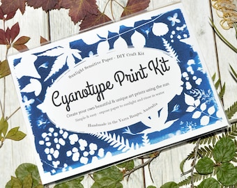 """Cyanotype Print Kit • A6 / 4x6"""" or A5 / 6x8"""" size • DIY Sun Print Craft Kit • Craft Gift for Her"""