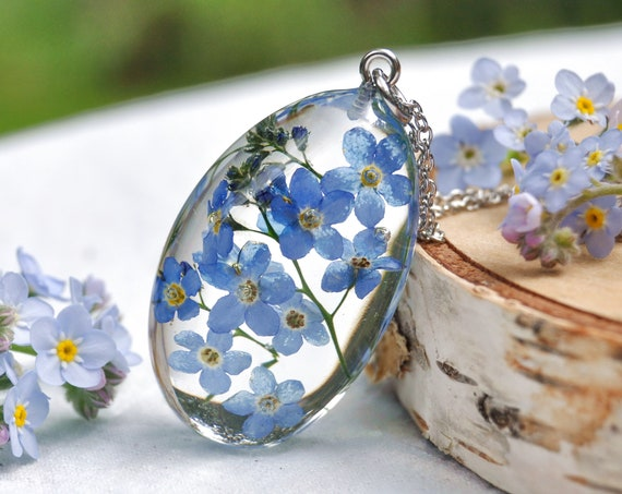 Forget Me Not Resin Pebble Necklace - Remembrance Gift