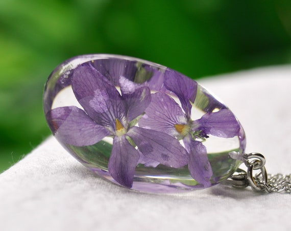Violet Flower in Resin Pebble Necklace - February Birthday Gift