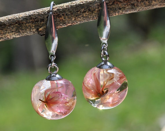 Mini Sphere Dangle Earrings - Pink Blueberry Ash Flowers & Eco Resin