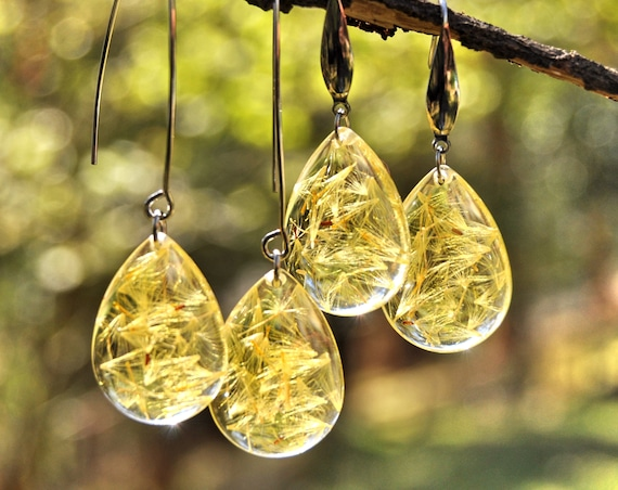 Dangle Teardrop Earrings - Yellow Daisy Seeds & Resin