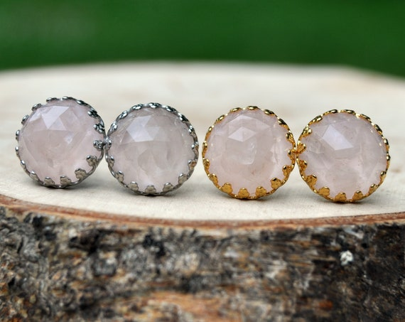 Rose Cut Rose Quartz and Resin Stud Earrings