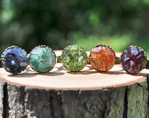 Resin Druzy Ring with Semi-Precious Stones