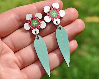 White & Green Flower Earrings • Gift for Her • Gift from Australia •  White Flower Stud Dangle Earrings • Australian Flower Jewellery