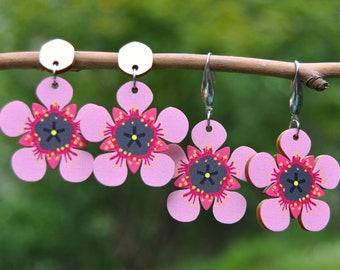 Australian Flower Earrings • Tea Tree Flower Earrings • Wooden Dangle Stud or Hook Earrings • Lightweight Earrings • Pink Flower Jewellery