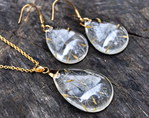 Dandelion Seeds in Resin Jewellery Set