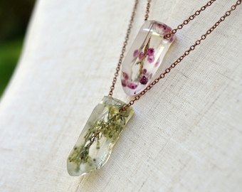 Real Heath Flower Resin Crystal Necklace