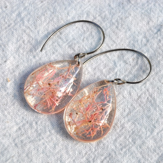 Dangle Teardrop Earrings - Pink Coralline Seaweed & Resin