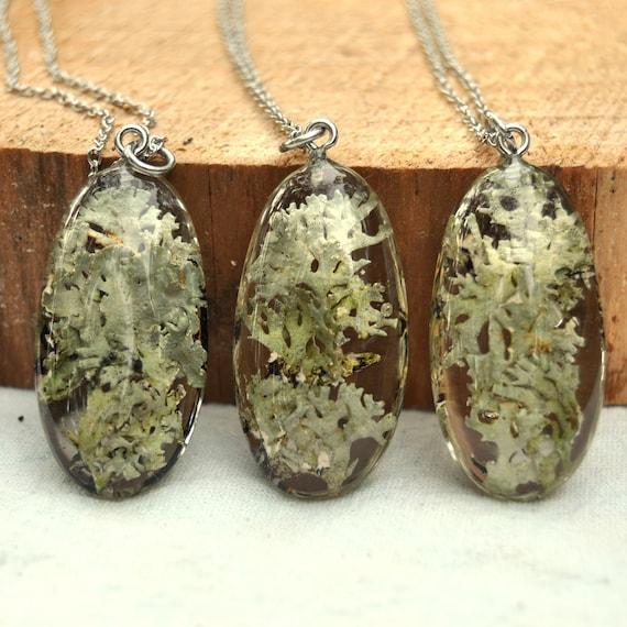 Leafy Lichen Resin Pebble Necklace