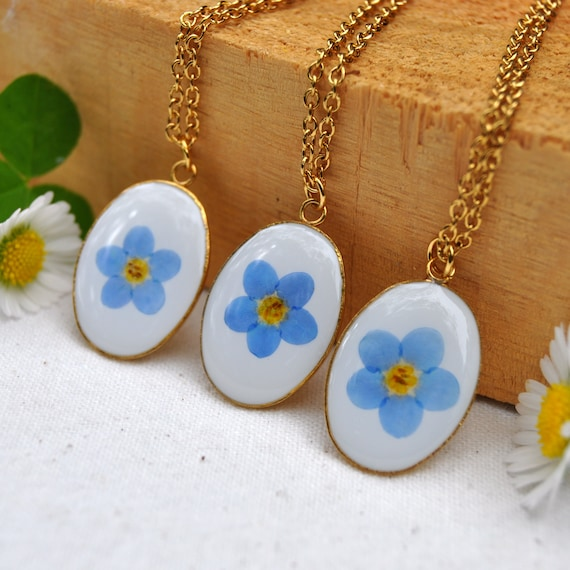 Pressed Forget Me Not Necklace - Oval