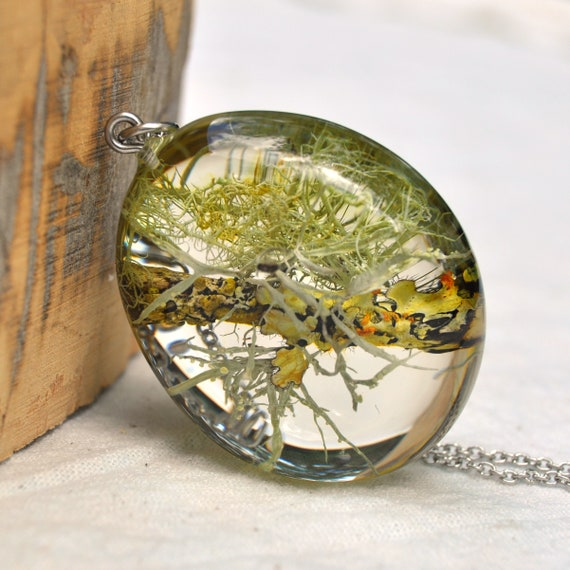 Lichen Twig Resin Pebble Necklace