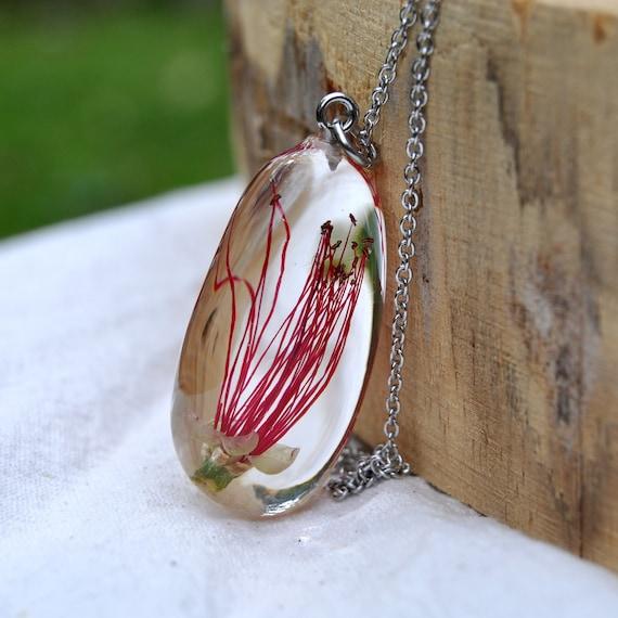 Australian Flower Pebble Necklace - Red Bottlebrush